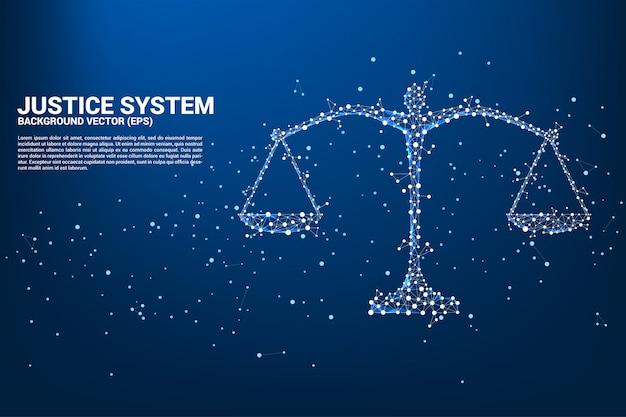 Stile poligono con scala di giustizia da connessione a punti e linee.