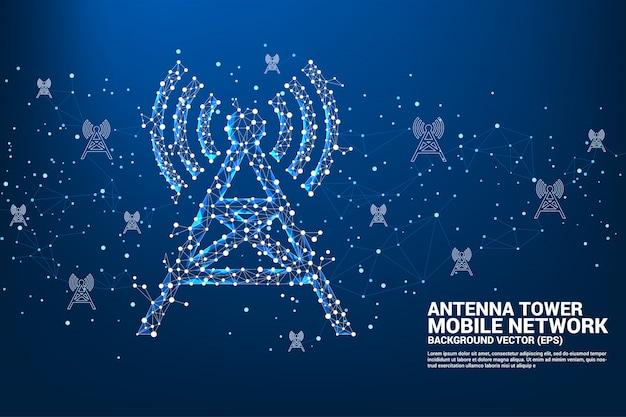 Stile poligono della torre dell'antenna dalla connessione a punti e linee.