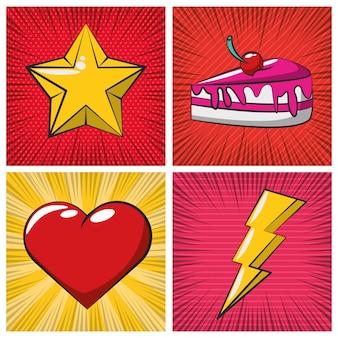 Stile pop art di poster con icone set