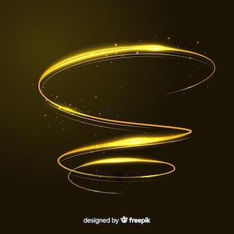 Stile realistico a spirale dorata lucente