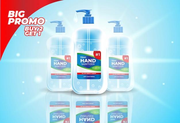 Stile realistico di bottiglia disinfettante per le mani per banner promozionali o annunci.