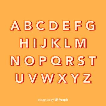 Stile retrò di alfabeto piatto modello