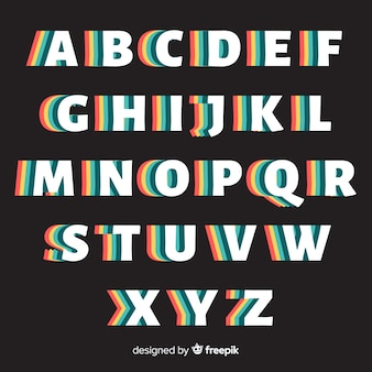 Stile retrò di alfabeto retrò modello