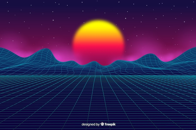Stile retrò di sfondo paesaggio futuristico