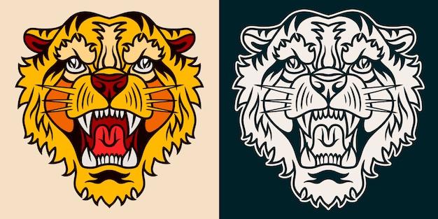 Stile retrò disegnato a mano della vecchia scuola della tigre.