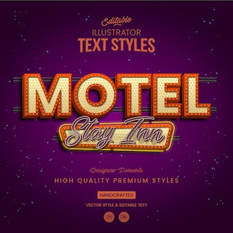 Stile retrò vintage motel text