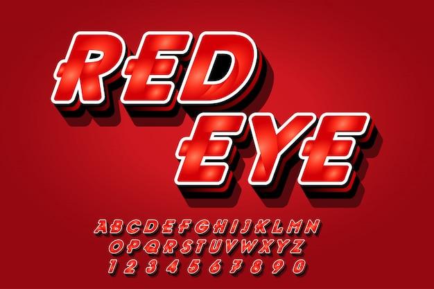 Stile rosso di effetti di carattere in 3d