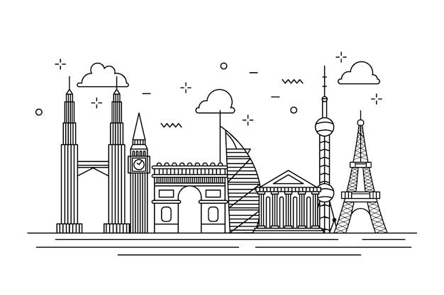 Stile skyline monocromatico di punti di riferimento di contorno