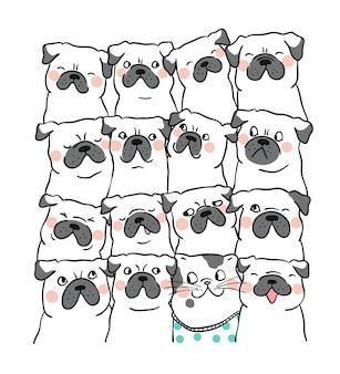 Stile sveglio del fumetto di scarabocchio del cane del carlino del ritratto di progettazione di carattere del carattere