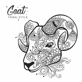 Stile tribale della testa della capra disegnato a mano
