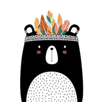 Stile tribale orso carino isolato su sfondo bianco.