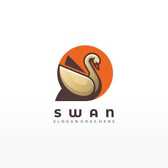 Stile variopinto animale di forma geometrica animale dell'uccello del cigno dell'illustrazione di logo di vettore