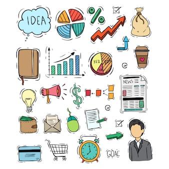 Stile variopinto di doodle della raccolta delle icone di affari su fondo bianco