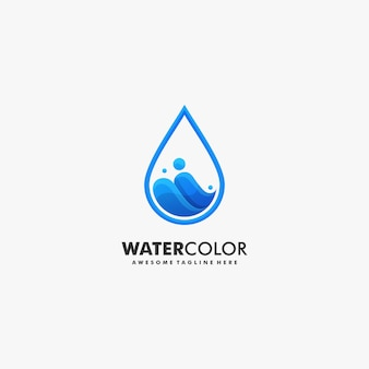 Stile variopinto di gradiente dell'acqua dell'illustrazione di logo di vettore.