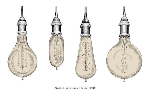 Stile vintage dell'incisione del disegno della mano della lampada di lampadina