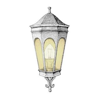 Stile vintage dell'incisione del disegno della mano della lampada di strada