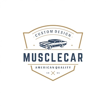 Stile vintage di muscle car logo template element