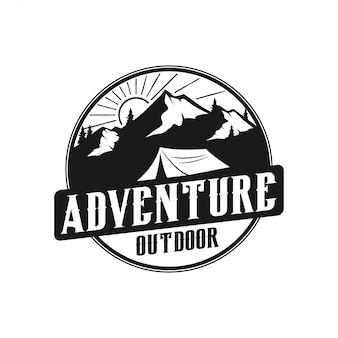 Stile vintage monogramma logo montagna - fauna selvatica all'aperto