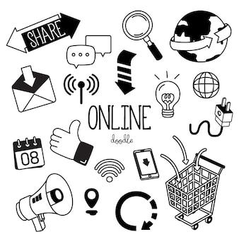 Stili di disegno a mano con icona online. scarabocchi sui social media online.