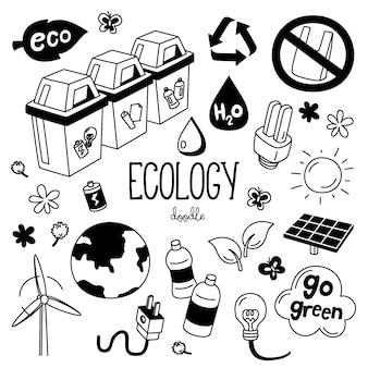 Stili di disegno a mano con oggetti di ecologia. doodle ecologia.