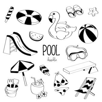 Stili di disegno a mano oggetti da piscina