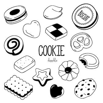 Stili di disegno a mano per cookie. biscotto doodle.