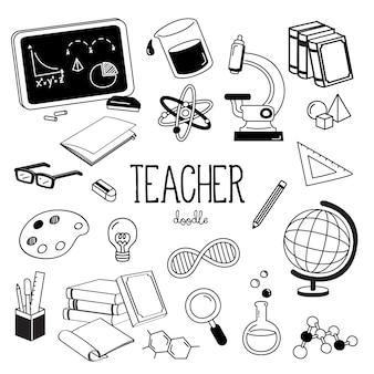Stili di disegno a mano per oggetti dell'insegnante. doodle dell'insegnante.