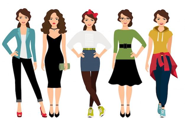 Stili di moda donna illustrazione vettoriale. modello femminile in abiti casual, adolescenti e business isolato