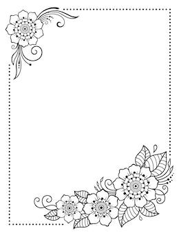 Stilizzato con motivi decorativi di tatuaggi all'henné per decorare copertine per libri, quaderni, cofanetti, riviste, cartoline e cartelle. fiore rosa in stile mehndi. cornice nella tradizione orientale.