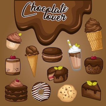 Stock vector set di dessert al cioccolato