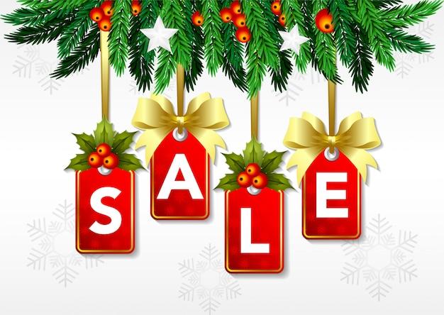 Stock vendita di natale con ornamenti. tag offerta speciale.