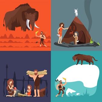 Stone age s. umano e strumenti antichi preistorici. uomo primitivo nel set di cartone animato grotta