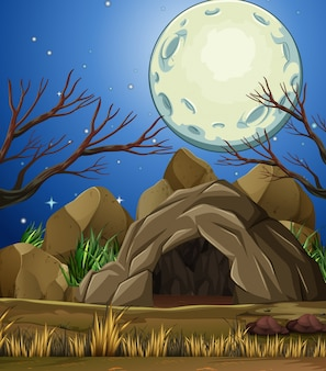 Stone cave under then moon light