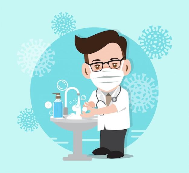Stop coronavirus, medico che combatte contro il coronavirus, illustrazione