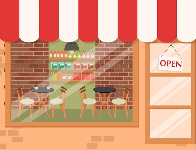 Store and market background con caffetteria