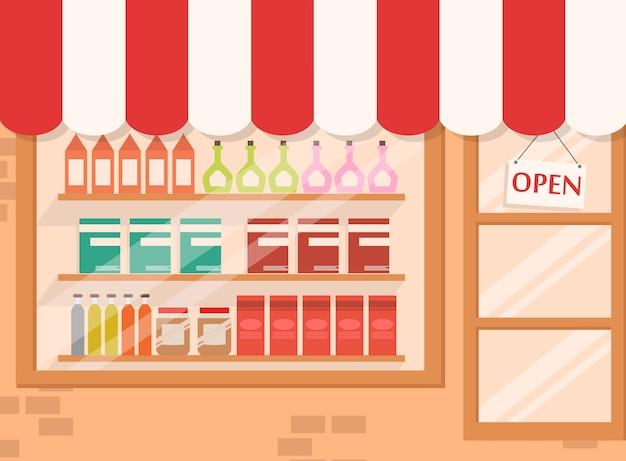 Store and market background con ripiano