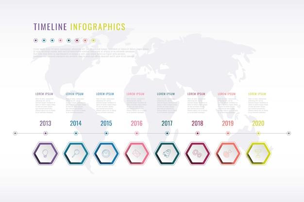 Storia aziendale infografica con elementi esagonali, indicazione dell'anno e mappa del mondo