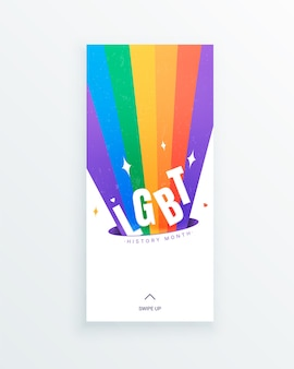 Storia dei social media del mese della storia lgbt con splendente arcobaleno lgbt su sfondo bianco. costruire una comunità e rappresentare una dichiarazione sui diritti civili sui contributi delle persone lgbtq.