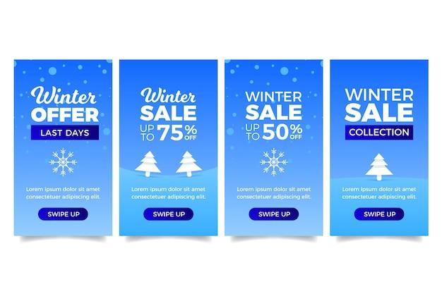 Storia del instagram di vendita di inverno con gli alberi di natale