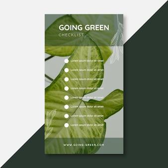 Storia di instagram con lista di controllo verde