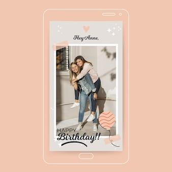 Storia di instagram di buon compleanno con foto