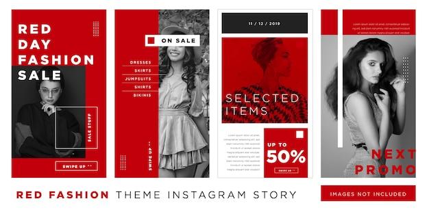 Storia di instagram di vendita di moda di giorno rosso