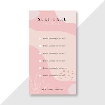Storia instagram della lista di controllo della cura di sé