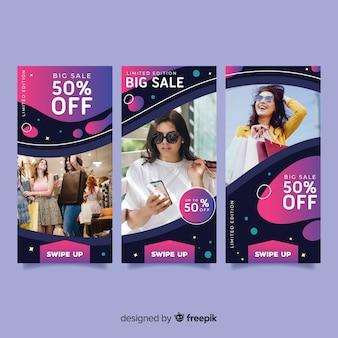 Storie astratte del instagram di vendita con la foto