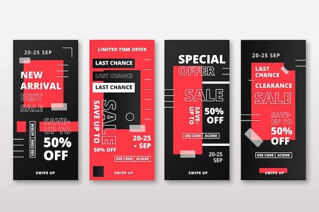 Storie astratte di vendita del instagram di colori dell'acido rosso