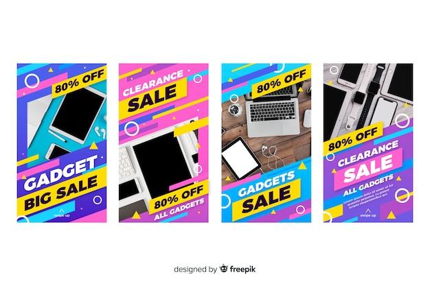 Storie astratte variopinte del instagram di vendita con la foto