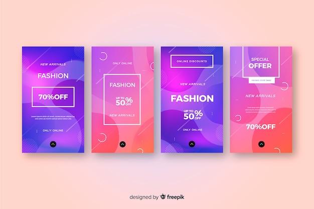 Storie colorate astratte di instagram di vendita