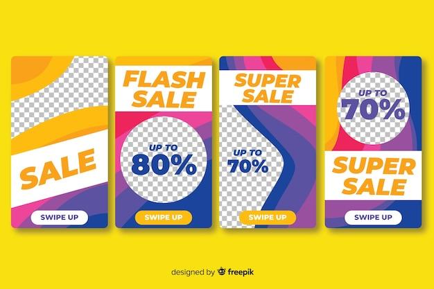 Storie colorate di instagram di vendita con forme astratte