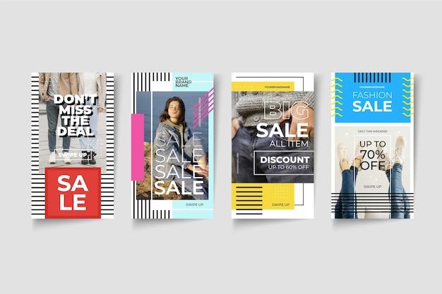 Storie colorate di instagram di vendita