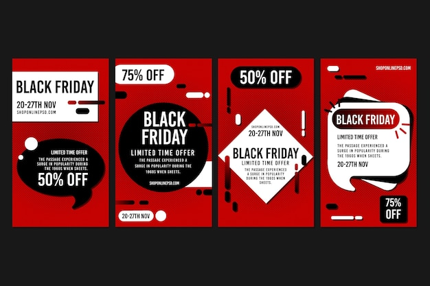 Storie di instagram a tempo limitato del black friday